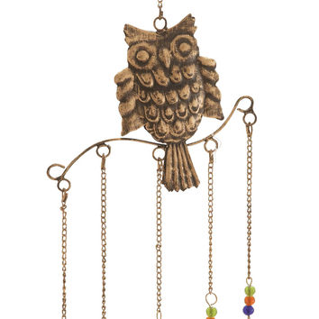 Owl Wind Chime Natural Style With 5 Bells In Colored Beads
