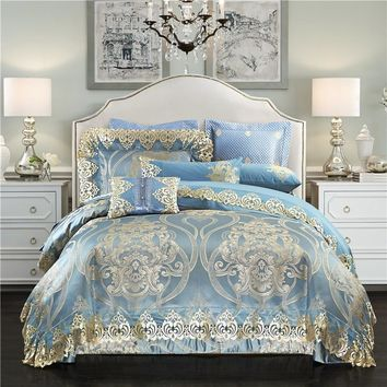 Silk satin cotton jacquard Luxury royal bedding set Queen/King size golden blue bed sheet set 4/6/10pcs wedding bed spread sets