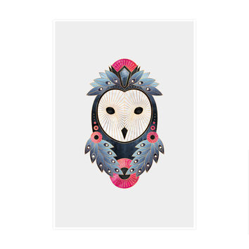 Owl Light Background Art Print
