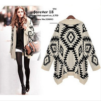 2014 Brand Women Geometric Pattern Knitted Sweater Knitwear Tops Ladies Retro Vintage Long Sleeve Cardigan Free Shipping SW8019