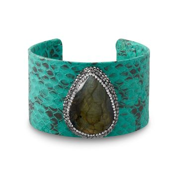 Turquoise Snakeskin and Labradorite Cuff Bracelet