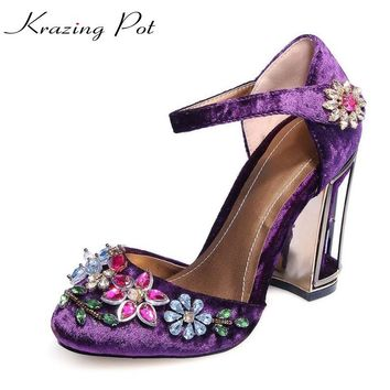 krazing pot beading flower crystal cage heels super high-heel round toe velvet women high quality brand shoes luxury big size L