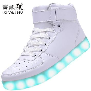 XIWEIHU Men USB Charging High Top Luminous LED Light Shoes 7 Colors Flashing Casual Gl