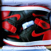 Nike Air Jordan Retro 1 Black-Red Blue Contrast Sports shoes High Tops