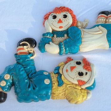 Set Of Raggedy Ann And Andy Vintage Syroco Wall Plaques 1977 BOBBS MERRILL Co.Wall Decor Plaques