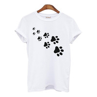 cat paws print Women tshirt Cotton Casual Funny t shirt For Lady Top Tee
