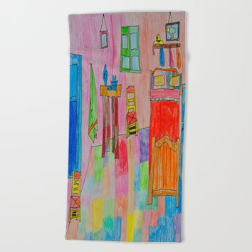 Colorful Bedroom #society6 Beach Towel by Azima