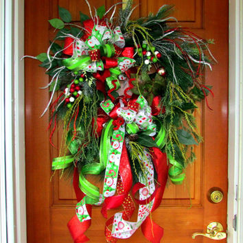 Christmas wreath, Christmas swag, holiday wreath swag, elegant wreath, wispy wreath, Designer Christmas wreath, woodland wreath, red lime