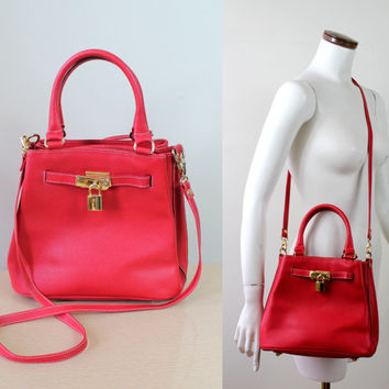 Vintage - 70s/80s - Vibrant Red Leather - Gold Lock Hardware - Handbag - Shoulder Bag - Purse - Removable Strap - Crossbody - Made in Italy