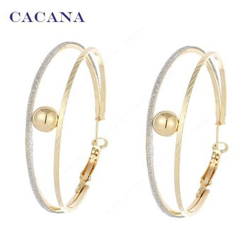 2016 New CACANA  Hoop Long Earrings For Women 2 Ring Catch A Ball Bijouterie Hot Sale No.A846 A847