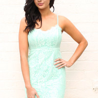 Eyelash Lace Strappy Bodycon Bralet Mini Cami Dress in Mint Green