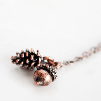 Autumn Acorn Pine Cone Necklace Fall Woodland Pinecone Forest Acorn Necklace Nature Jewelry - N228