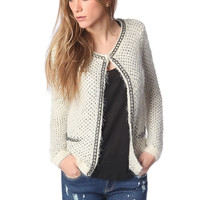 Q2 Cream Knitted Jacket With Chunky Chain Trim