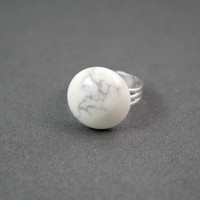 White Howlite Gemstone Silver Plated Adjustable Cocktail Ring