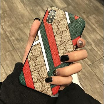 GUCCI Fashionable Women Men Retro Stripe Bee Mobile Phone Cover Case For iphone 6 6s 6plus 6s-plus 7 7plus 8 8plus X XSMax XR