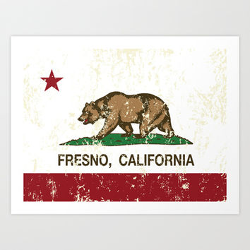 Fresno California Republic Flag Distressed  Art Print by NorCal