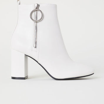 Ankle Boots with Zip - White - Ladies | H&M US