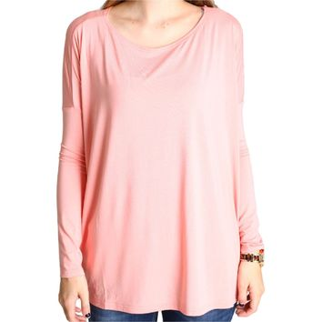 Authentic Piko Long Sleeve Top, Peach