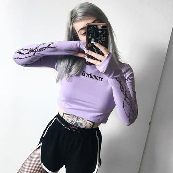Women Fashion Personality Letter Print Turtleneck Long Sleeve T-shirt Crop Tops