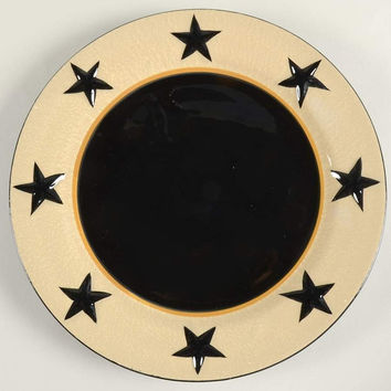 Primitive Dinner Plate, Black Star, Berry Vine-Set of 4