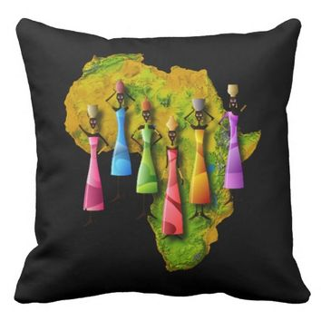 African Women In Colorful Dresses On Africa Map Throw Pillow