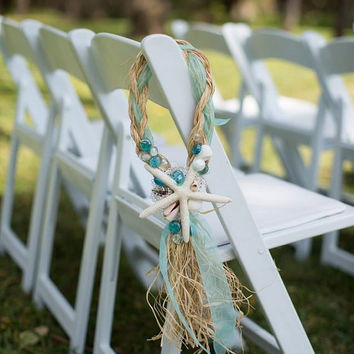 Seashell Chair Swag / Starfish Swag / Beach Wedding Swag / Wedding Swag / Outdoor Wedding Swag / Raffia and Shell Swag / Custom Swag