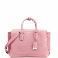 MCM Milla Medium Crocodile-Embossed Tote Bag, Pink