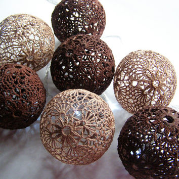 Party Lighting, Holiday Lights, Bedroom Decor, Fairy Lights, String Lights, 20 Crocheted chocolate coffee balls , garland light