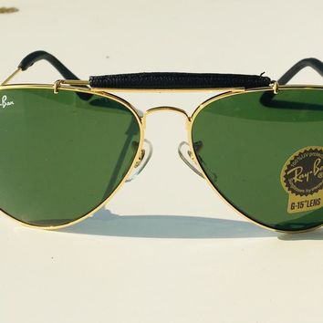 Pre-Owned Men's women Ray-Ban Green Aviator Sunglasses Excellent Unisex Wear