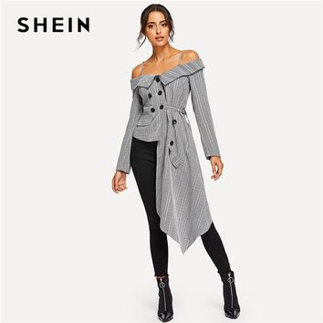 SHEIN Going Out Grey Cold Shoulder Asymmetric Hem Plaid Blazer Office Lady Long Sleeve Coat Women Autumn Elegant Outerwear