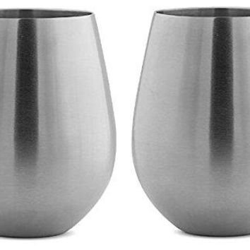 Stainless Steel Stemless Wine Glasses by Avito  12 oz and Shatterproof  BPA Free Healthy Choice  Set of 4  Best Value