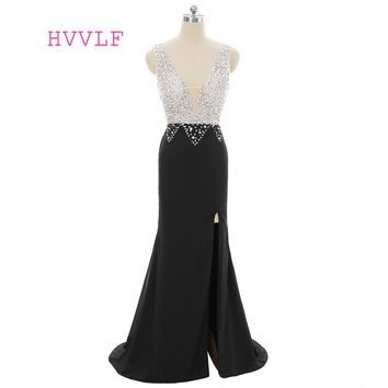 Black 2018 Prom Dresses Mermaid V-neck Beaded Crystals Slit Sexy Robe De Soiree Long Prom Gown Evening Dresses Evening Gown
