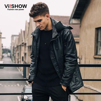 Viishow Winter Black Jacket Men Hooded Warm Casual Parka Coat Hooded Design Men Leather Jacket Men Wear Clothing M155854
