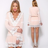 Deep V-neck Lace Chiffon Patchwork Long Trumpet Sleeves Short Dress