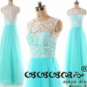 Lace prom dress,Lace Bridesmaid Dress ,Prom Dresses ,Long Tiffany Blue Tulle Bridesmaid Dresses ,evening dress,party dress,formal dress2015