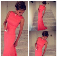 Pink Boat Neck Sleeveless Bodycon Fishtail Maxi Dress