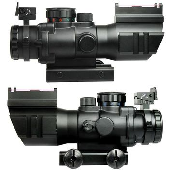 4X32 Rifle Scope with Red Green Fiber Optic Sight Tri-illuminated Ballistic Reticle Riflescope for Hunting Rifle and Air Gun