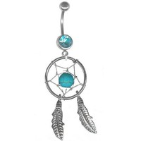 Short Post Turquoise Dream Catcher Navel Ring Belly Rings Body Jewelry (1/4 inch long post)
