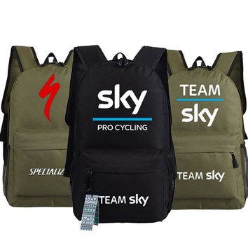 New fashion team Sky men Backpacks Pro Cycle Specialized Thuner women Printed shoulder travel Bag Unisex Student Boys schoolbag