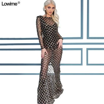 4833aaff Sexy Illusion Sequined Red Carpet Celebrity Dresses Long Sleeve