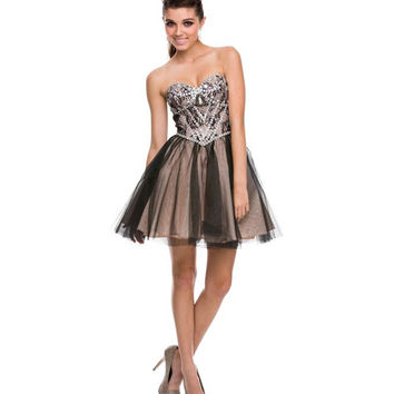 Black & Nude Rhinestone & Lace Strapless Dress   Prom 2015
