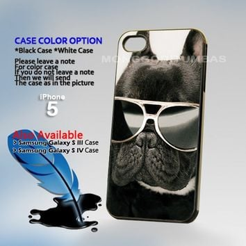 French Bulldog Glasses, Photo Hard Plastic iPhone 5 Case Cover