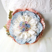 Pastel Pink and Baby Blue Flower Pin - Baby Shower Gift and Corsage