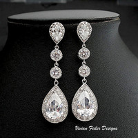 Bridal Earrings Long Wedding Jewelry Bling Cubic Zirconia Prom - Vivian Feiler Designs | Wedding