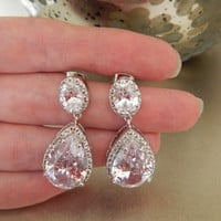 Sparkling Bridal Earrings, Costume Jewelry, Cubic Zirconia Dangle Earring, Wedding Party