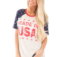 Oatmeal 'Made in USA' Printed Tee with Split Sides