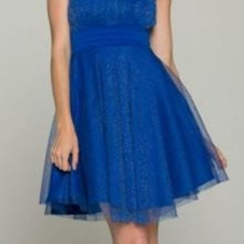 Love Is In The Air Shimmering Royal Blue Party Dress