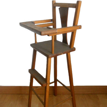 Vintage Doll High Chair 1950s Handmade Wood Furniture