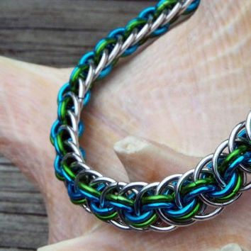 Blue, green and silver viper basket chain maille bracelet