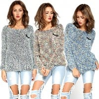 Women Long Sleeve Knitted Mohair Sweater Leisure Loose Knitwear Tops Pullover